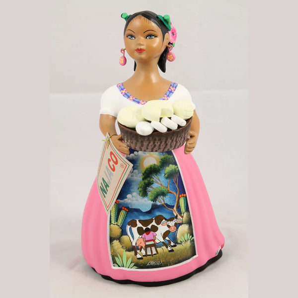 """Lupita"" Female Ceramic Doll Cheese Basket Original Pink Clay Pottery"