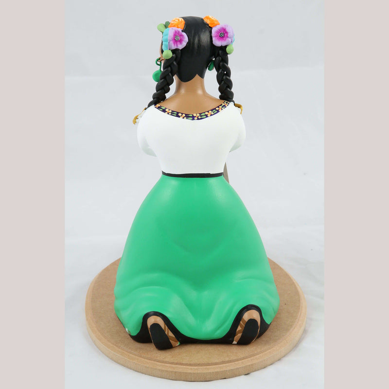 Lupita Najaco Ceramic Doll Tortilla Maker Mexican Green