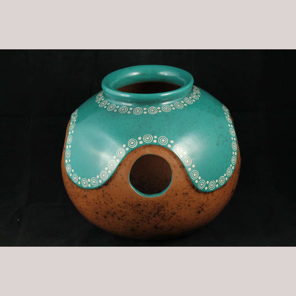 Ceramic Ball Pot/Vessel Hand Crafted/Painted Pottery Mexican Folk Art Pottery