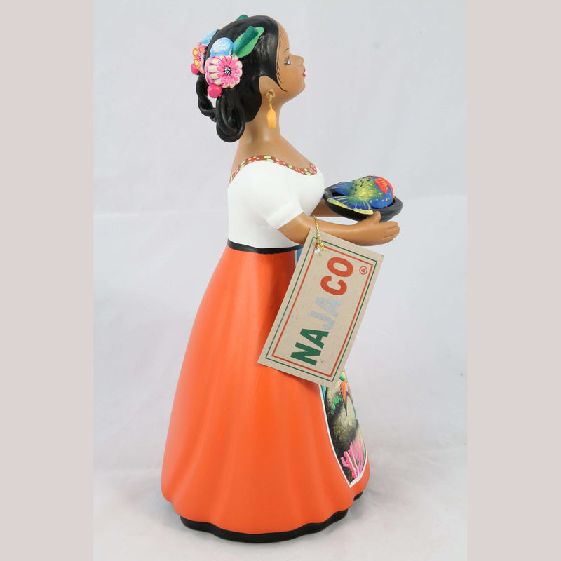 Lupita Doll NAJACO With Plate of Fish Orange Dress Ceramic Mexican Folk Art