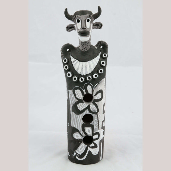 Ceramic Sculpture Mexican Fine Art New Pottery Signed Jose Ayala Sotelo Blk/Wht