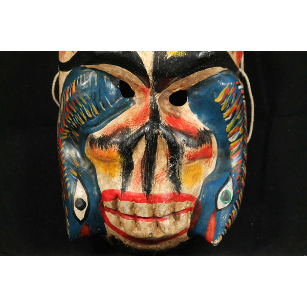 Vintage Mexican Hanging Skeleton/Snakes Wood Mask Hand Carved/Painted