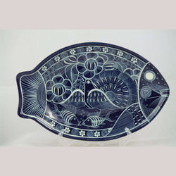 Ceramic Hanging Fish Shaped Platter Mexico Folk Art Collectible Home Decor Blue