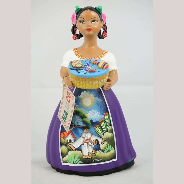 """Lupita"" Toy Basket Purple Ceramic Doll Mexican Clay Folk Art  #2"