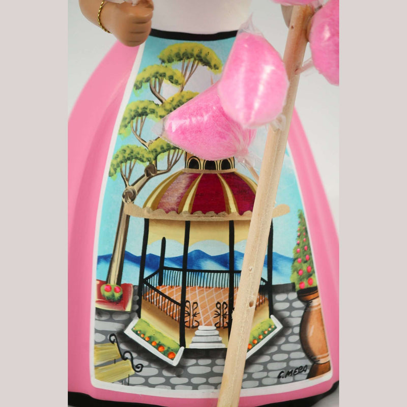 Lupita Najaco Ceramic Doll Mexican Folk Art Cotton Candy Seller Pink