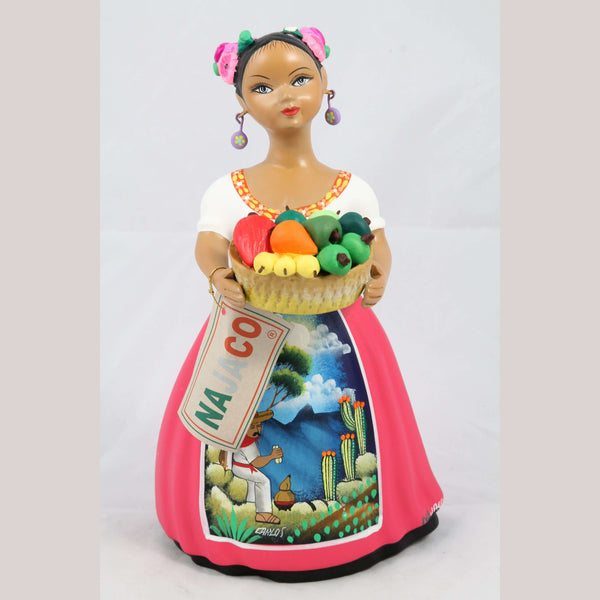 """Lupita"" Chilies Basket Fuchsia NAJACO Ceramic Doll Mexican"
