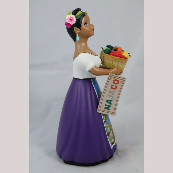 """Lupita"" Chilies Basket Plum Najaco Ceramic Doll Figurine Mexican"