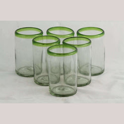 Lime Green Rim, Glass Tumblers, Set of 6, Hand Crafted Mexican Glassware