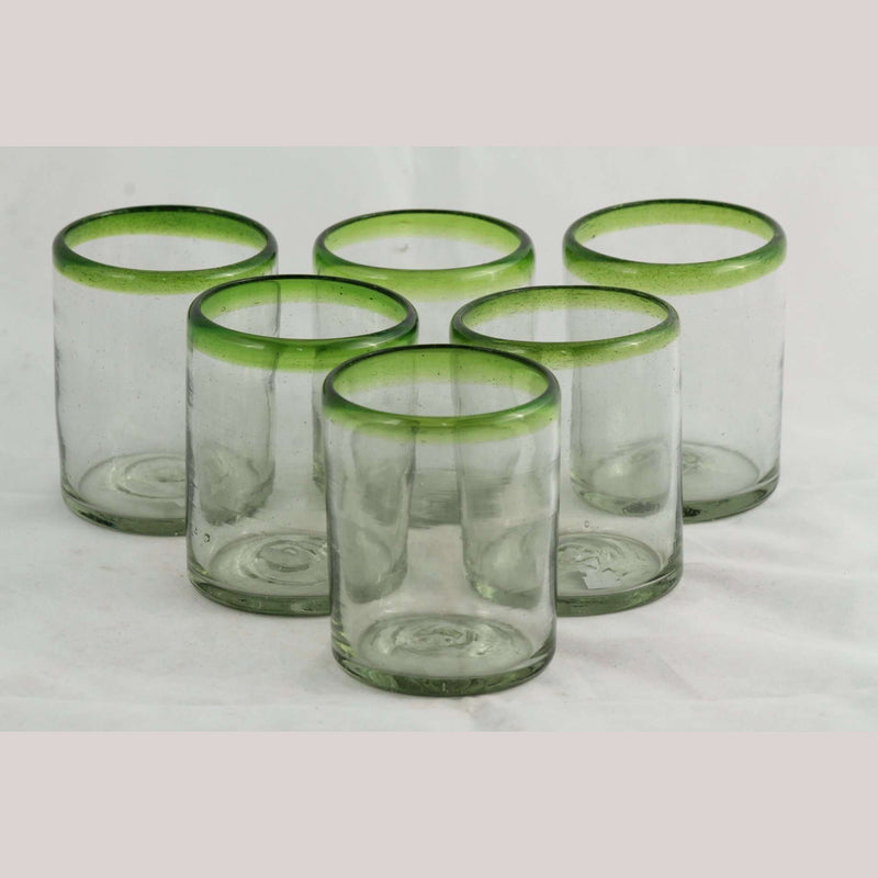 Lime Green Rim Rocks Glasses Set 6 Mexican Glassware Original