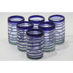 Cobalt Blue Spiral, Glass Tumblers, Set of 6, Mexican Glassware