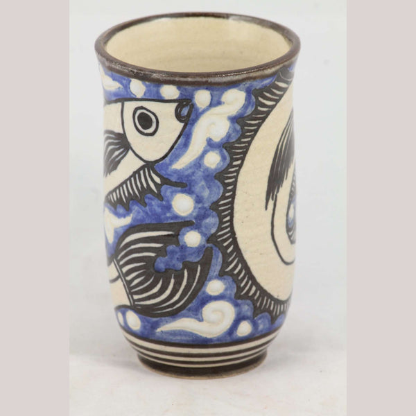 Leaping Fish Ceramic Mug Handmade Mexican Folk Art Guadalupe Rios