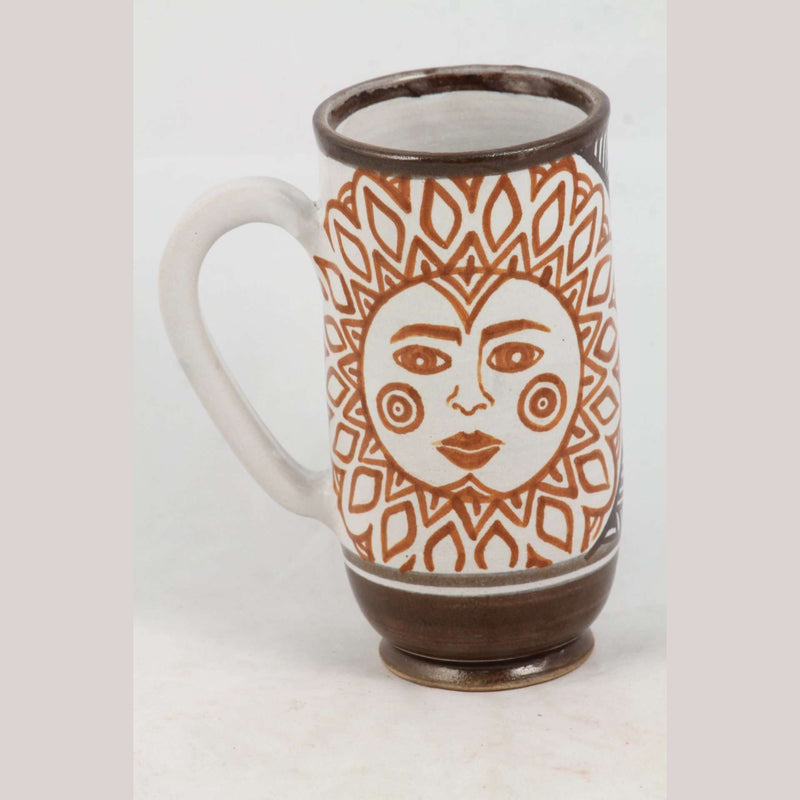 Sun Ceramic Mug Handmade/Painted Mexican Folk Art Guadalupe Rios