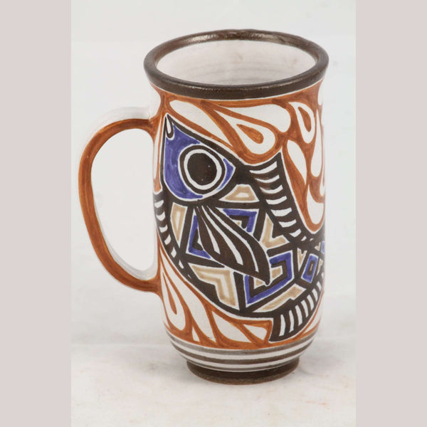 Abstract Fish Ceramic Mug Handmade Mexican Folk Art Sign Artist Guadalupe Rios