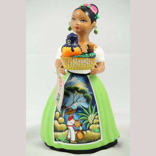 """Lupita"" Najaco Doll Ceramic Figurine Pulque Seller Lime Green Dress"