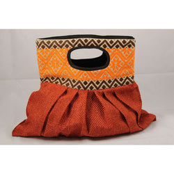 Mexican Purse/Bag/Tote Hand Embroidered Textile, Orange