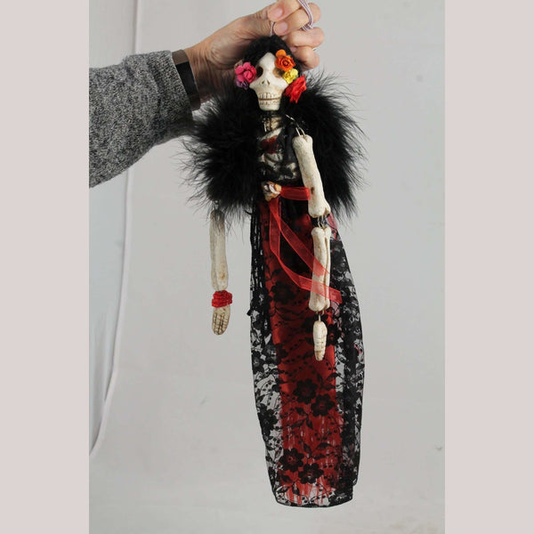 "Ceramic ""Day of the Dead"" Doll Catrina Mexican Folk Art Handmade Collectible"
