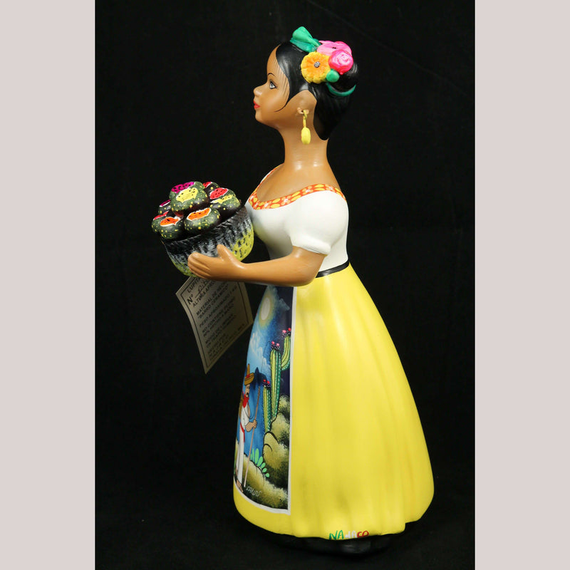 Lupita Najaco Pitaya Basket Ceramic Mexican Clay Folk Art Yellow