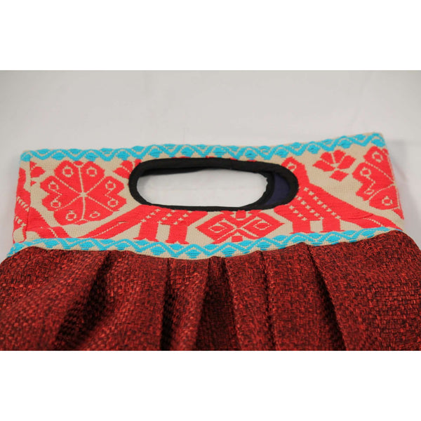 Mexican Purse/Bag/Tote Hand Embroidered Textile, Red