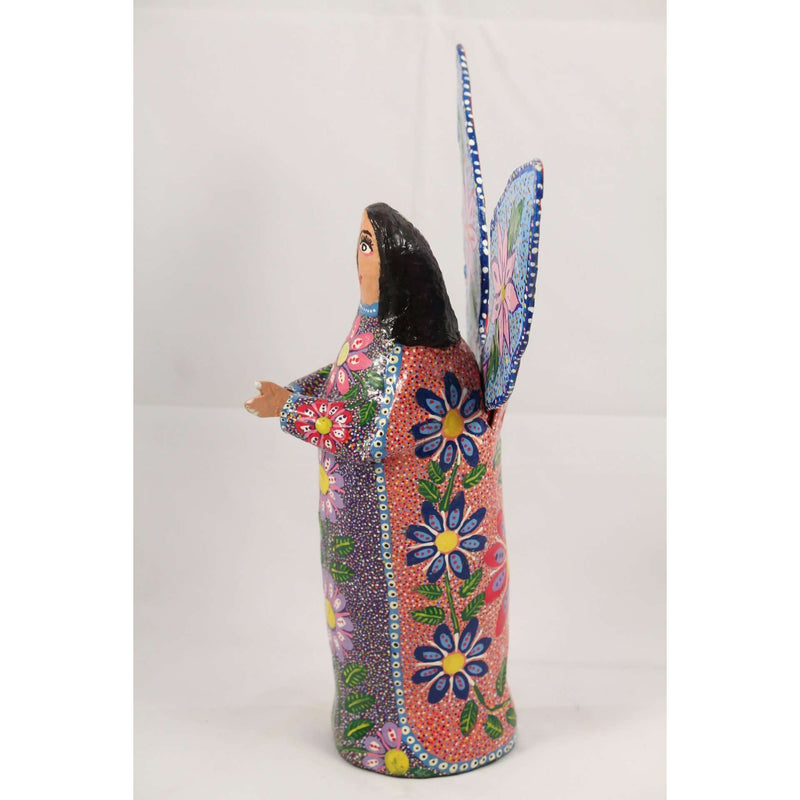 Mexican Paper Mache Angel Figurine Hand Made/Painted Medium