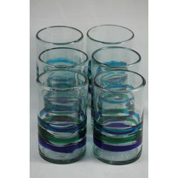 Three Bands of Color, Glass Tumblers, Set of 6, Hand Crafted Mexican Glassware