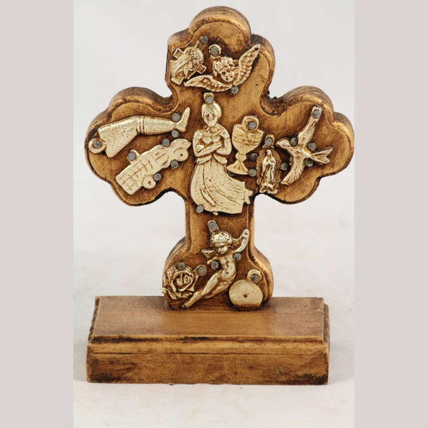 New Wood on Stand Cross/Milagros Mexican Folk Art Maiden Ocher