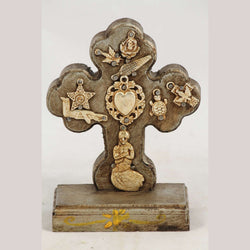 New Wood on Stand Cross/Milagros Mexican Folk Sacred Heart Gold/Silver