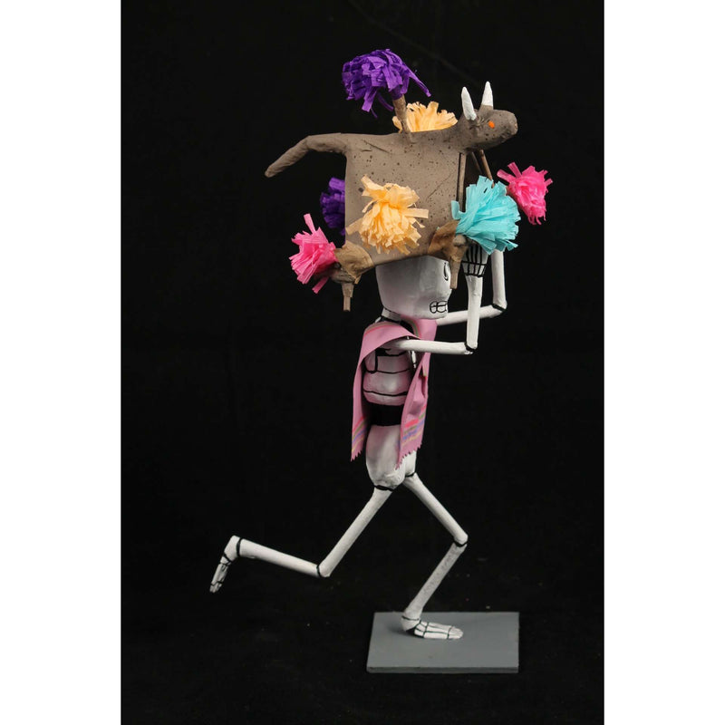 Paper Mache Festive Skeleton Lilac Mexican Artist Signed Handmade/Painted