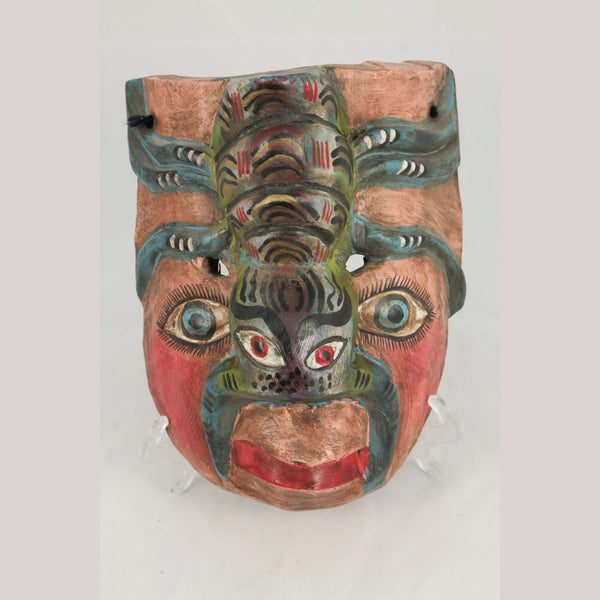 Vntg Wood Hanging Mask Monkey Face w Spider Mexican Folk Art Hand Tooled Decor