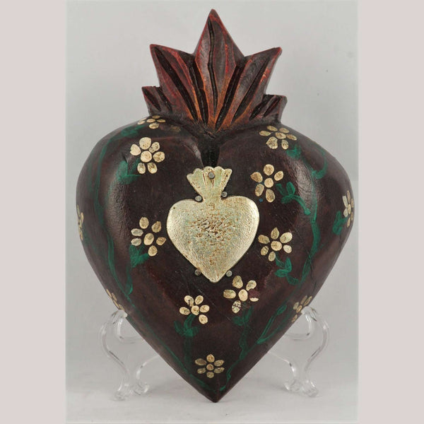 Wood Hanging Heart/Milagros Handmade/Painted Mexican Mahogany