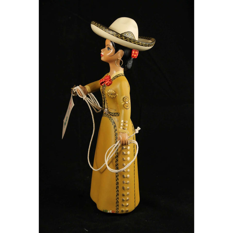 "Charra Ocher ""Lupita"" Doll Ceramic Mexican Folk Art"