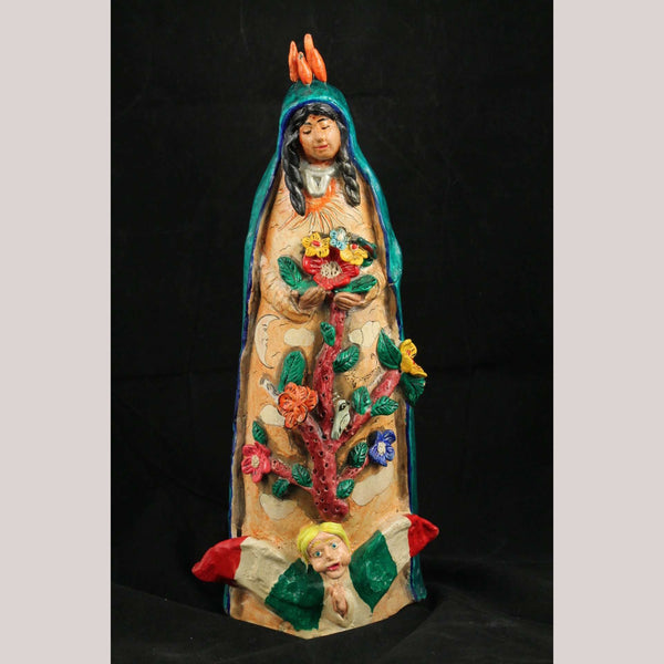 Lg Ceramic/Pottery Madonna Handmade/Painted Mexican Folk Art Juan Jose Medrano