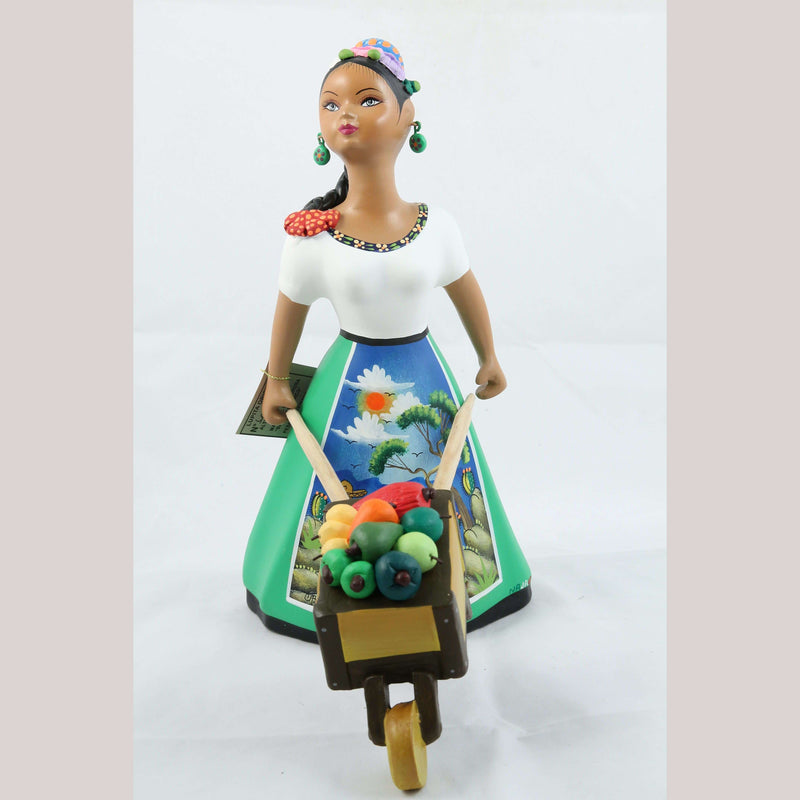 Lupita Najaco Ceramic Figurine/Doll w Cart Chili Peppers Mexican Green
