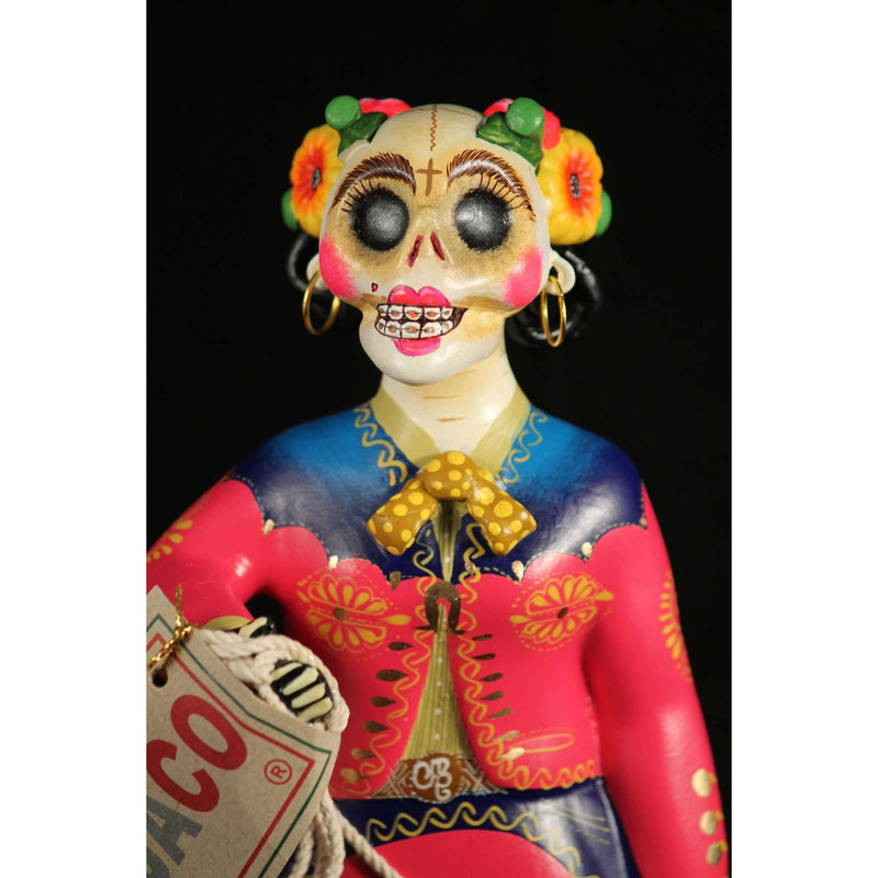 Lupita Doll Charra Catrina Fuchsia Dress Ceramic Mexican Folk Art