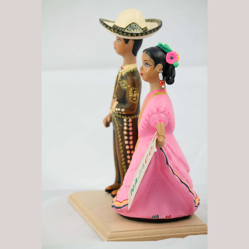 Lupita NAJACO Ceramic Mexican Doll/Figurines Dancing Children Brown/Pink
