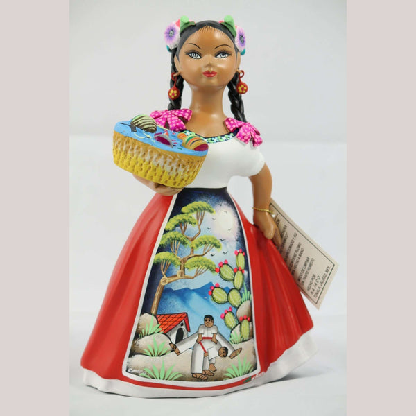 Najaco Lupita Ceramic Doll Toy Basket Mexican Pottery Espanola Red