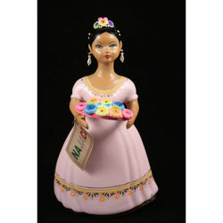 "Quinceañera ""Lupita"" Doll Ceramic Figurine Rose Dress"