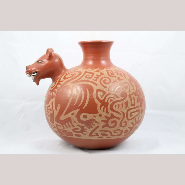 Ceramic Vessel/Jar Mexican Fine Collectible Folk Art Ventura Hernandez Jaguar