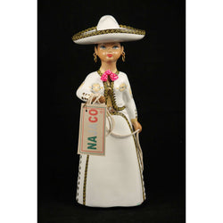 Lupita Doll, Charra Blanca, White Mexico Folk Art Original