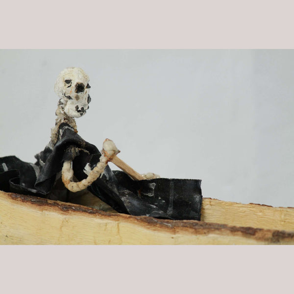 Wood Skeleton in Canoe Hand Carve/Paint Mexico Folk Art Pina Collectible 19 1/4""