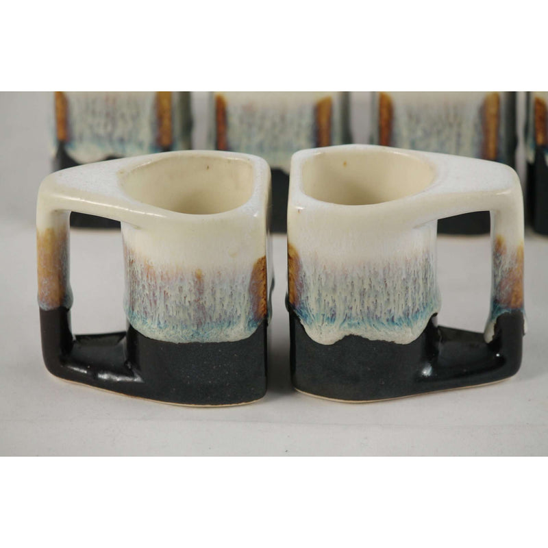 Demi tasse/Espresso Ceramic Mugs w Stand Mexican Folk Art Signed Padilla