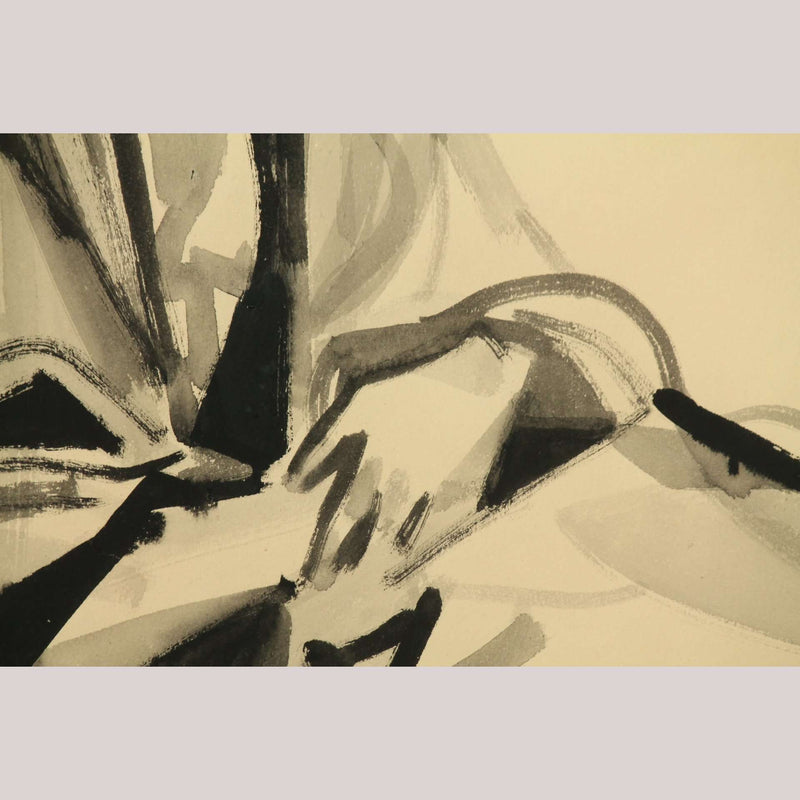 """Woman Seated"" Romeo Tabuena Original Ink on Paper, Modern Art, Mexico painting"