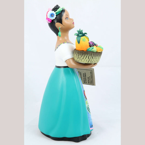 Lupita Doll Basket of Fruit Turquoise Espanola Skirt Ceramic Mexican