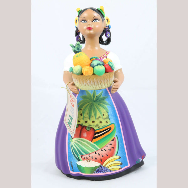 Lupita Doll Basket of Fruit Plum Skirt Ceramic Mexican Folk Art NAJACO