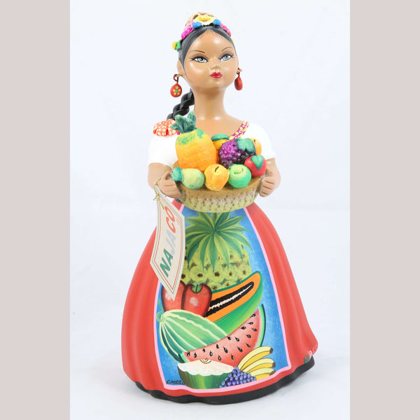Lupita Doll Basket of Fruit Red Skirt Ceramic Mexican Folk Art NAJACO