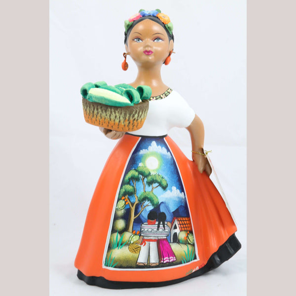 Lupita Doll Espanola Orange Skirt Corn Basket Ceramic Orginal Mexican