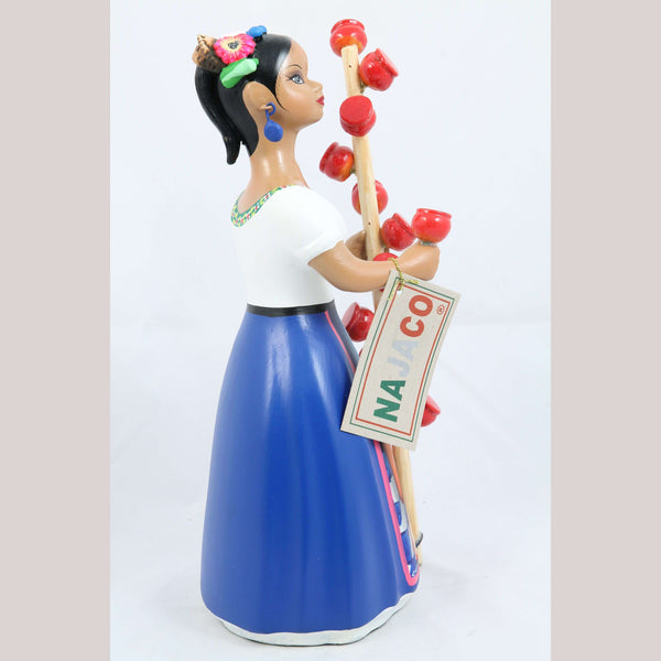 Lupita NAJACO Ceramic Doll Mexican Candy Apple Seller Royal Blue