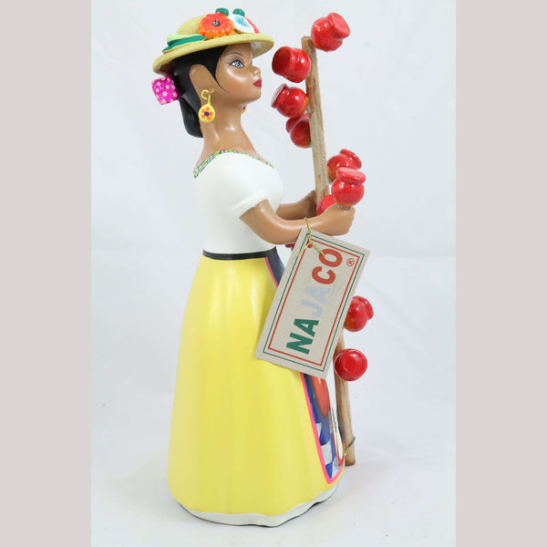 Lupita Doll Candy Apple Seller Hat Yellow Skirt Ceramic Mexican