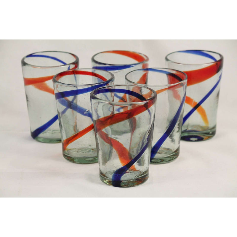 Red Blue Stripes Tumbler, Set of 6, Mexican Glassware Hand Crafted