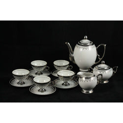 Coffee or Tea Set White China Silver Trim Design #6930 Japan Collectible 15 Pc