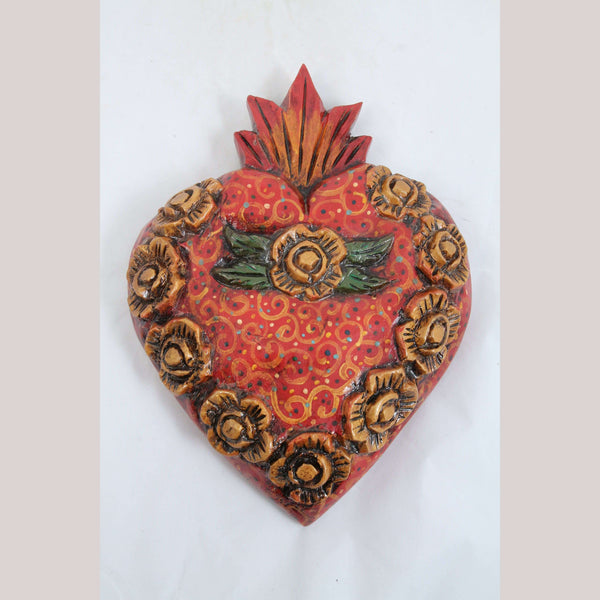 X-Lg Wood Hanging Heart Handmade/Painted Mexican Folk Art Collectible 10 Flowers